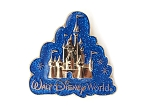 WDW Gold Castle Blue Glitter Cloud