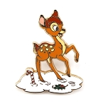 Bambi Playing in Winter Snow