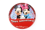 Rare Happy Anniversary Button Mickey Minnie Holding Hands