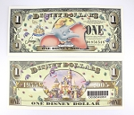 Disney Dollar $1 Dumbo Gold Castle 2005 DL 50th