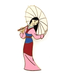 Princess Mulan Holding Umbrella