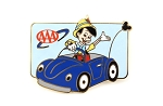 Pinocchio Driving Blue Automobile AAA Travel