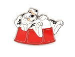 Rolly Dalmatians Puppy in Red Dog Bowl
