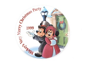 Vintage Mickey Minnie Very Merry Christmas Party 1999 Button