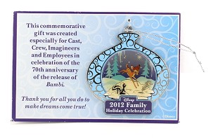 Cast Member Bambi Holiday Ornament 70th Anniversary