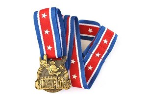 Patriotic Pin Trading Lanyard with Medal