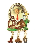Western Walt Disney with Chip and Dale Cowboy Dangle